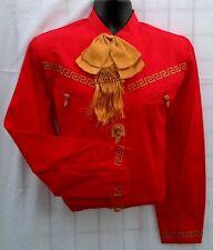 Mexican Western Shirt w/Leather Stitching Camisa Charra con Greca de Piel