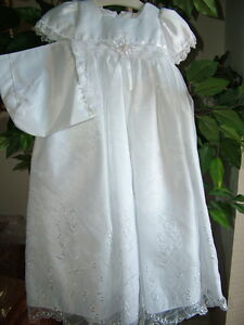 Baby-Girls-Embroidered-Whites-Christening-Boutique-Polyester-Dress-Set-S-Square