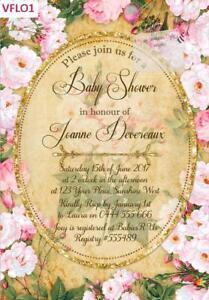 Image Is Loading Vintage Floral Invitations Invites Bridal Shower Birthday High