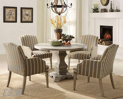 NEW LUTON 5PC RUSTIC WEATHERED WOOD ROUND PEDESTAL DINING TABLE SET w/ CHAIRS