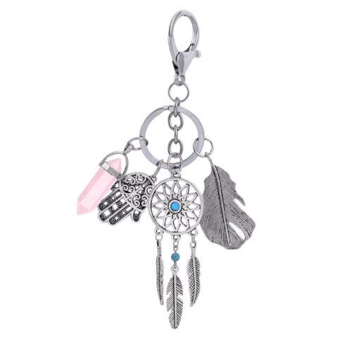 Women Fashion  Natural Opal Stone Dream Catcher Keyring Car Bag Keychains