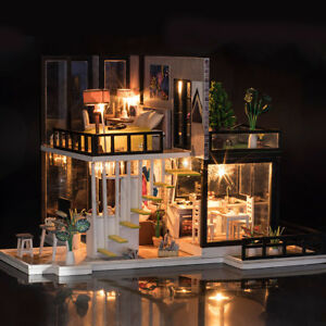 Miniature-Dollhouse-DIY-Handcraft-Kit-Furnitures-Wooden-House-Romantic-House-NEW