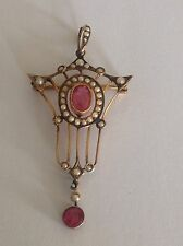 Delightful Edwardian 9ct Gold Pink Tourmaline & Seed Pearl Set Pendant Brooch