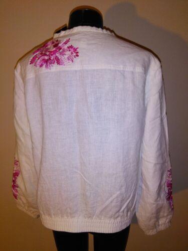 International Plex lino e Nwt ricamato rosa Jacket bianco in 159 Concepts qPqrwIg