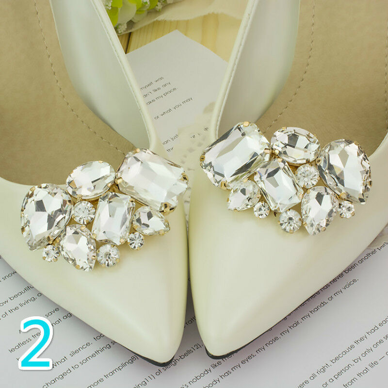 A Pair Rhinestone Crystal Bridal Shoes Clip Buckle High Heel Charms Cute Fashion