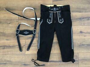 X8#Hochwertige Lederhose Bundlederhose Wildbockleder +Träger Schwarz/Weiß Gr.98