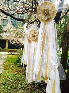 Details About 1pc Vintage Burlap Lace Bow Pew Chair Bow Pew Bow Rustic Burlap Wedding Decor