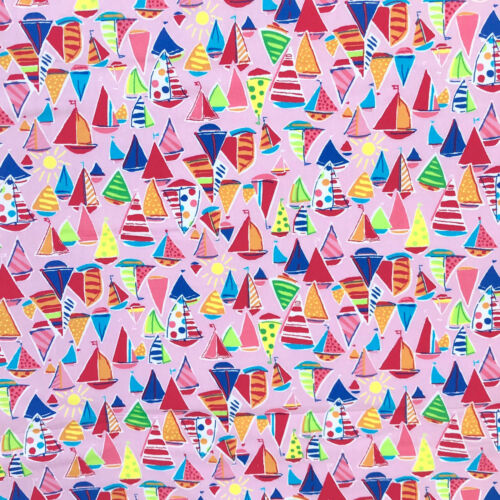 Sold Per 1//2 Metre Pink OR Black 112cm Wide 100/% Cotton Little Boat Fabric
