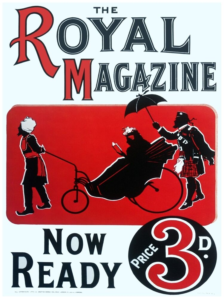 5850.The Royal Magazine.man pulling on lady in carriage.POSTER.Home Office art