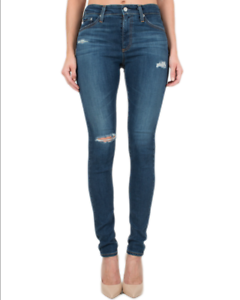 NWT  Adriano goldschmied Farrah Skinny High-Rise Ripped Jeans [ 28R ]  G224