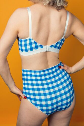 041 Revival lingerie GINGHAM print non wired vintage style bralette b-f NEW