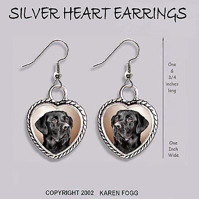 LABRADOR RETRIEVER DOG  Black Adult Ornate HEART PENDANT Tibetan Silver