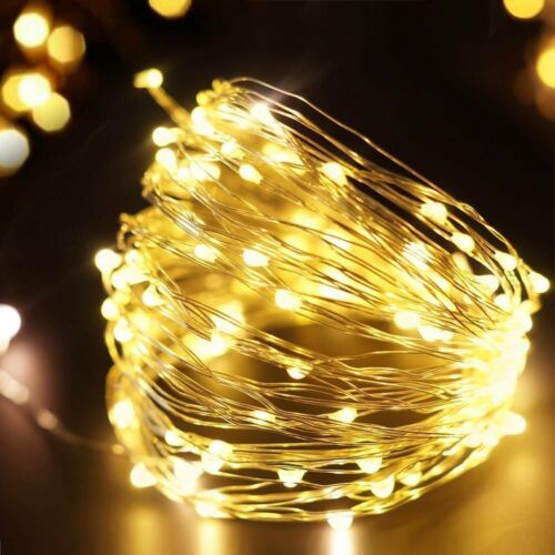 Remote Battery USB 5//10M 50//100 LED Silver Wire String Fairy Light Xmas 8-Modes