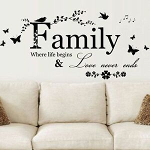 1pc Family Letter Quote Removable Vinyl Decal Art Mural Home Decor Wall Stickers
