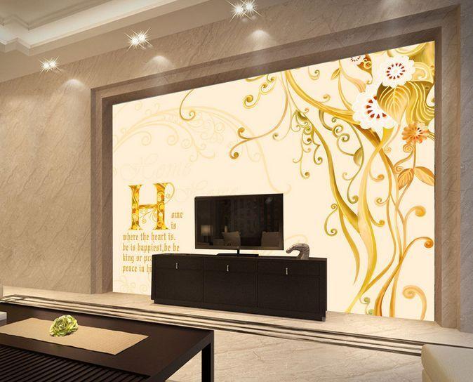 3D Lettere gialle 5 Parete Murale Carta da parati immagine sfondo muro stampa