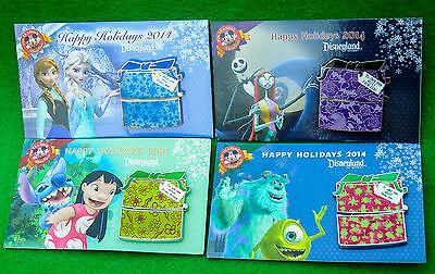 Disney Happy Holidays 2014 Christmas Gift Box 4 Pins Frozen Monsters Stitch NMBC
