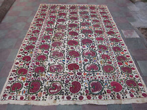 ANTIQUE UZBEK SILK HAND MADE- EMBROIDERED SUZANI 296x193-cm / 116.5x75.9-inches