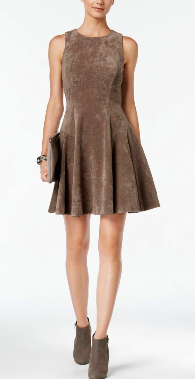 IVANKA TRUMP Women's Faux Suede Fit and Flare Dress NWT Heather Taupe Sz 8 Work