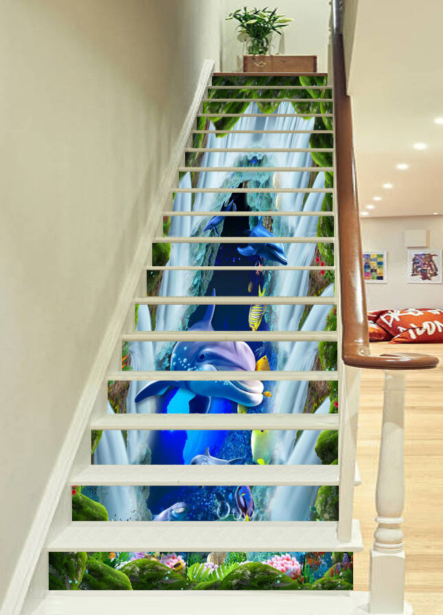 3D Waterfall fish Stair Risers Decoration Photo Mural Vinyl Decal Wallpaper AU