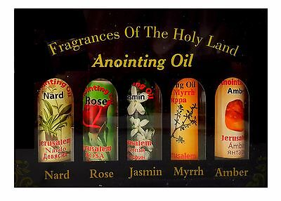 Set of 5 Blessed Anointing Oil Myrrh Nard Rose Jasmine Amber Jerusalem Holy  Land | eBay