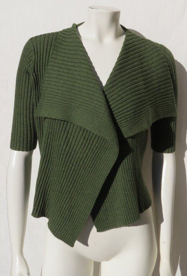 EILEEN FISHER  Green 100% Merino Wool Rib Knit Sweater Cardigan Top PS SP
