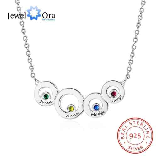 Personalised Family Names Birthstone Necklace Pendant for Mum Mother/'s Day Gift