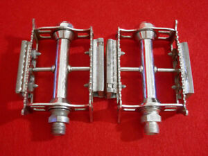 Vintage-Lyotard-Pedal-Pedals-Cibie-Chrome-Steel-Spoke-France-Road-Used