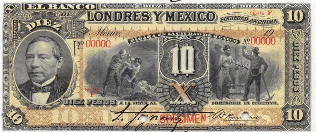 México  10 Pesos  ND. 19xx  S  234s  Specimen  Series  F  Uncirculated Banknote