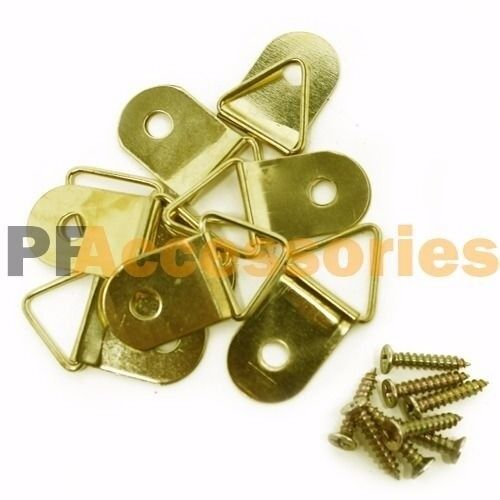 8 Pcs 1 Inch D Ring Hanging Picture Frame Hanger Hooks Brass Plated