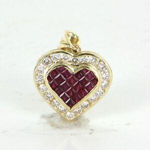 Ruby Diamond Heart Pendant Vintage 18k Yellow Gold Estate Fine