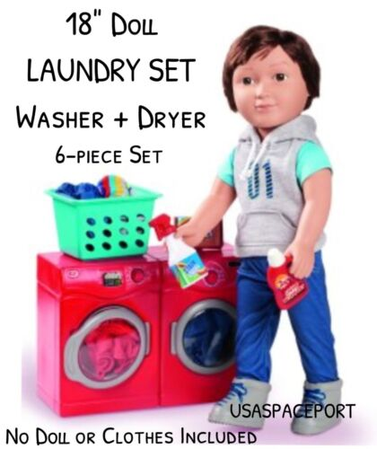 "DRYER Laundry Room Set for My Life as American Girl Boy 6pc RED 18/"" Doll WASHER"