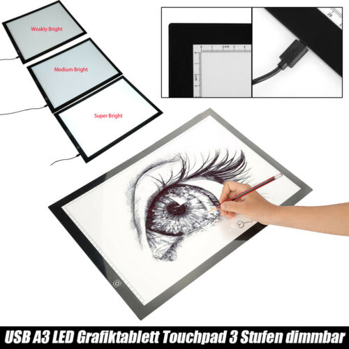 A3 LED Leuchttisch Lichttisch Grafiktablett Animation Tracing Board 3 Stufen TOP