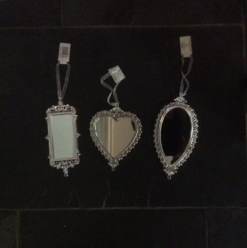 New Set 3 Hanging Mirrors Christmas Tree Ornaments// Decorations 12-20cm
