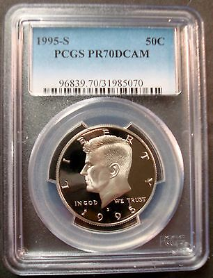 1995-S PROOF-70 PCGS DEEP CAMEO KENNEDY HALF DOLLAR VERY RARE IN THIS GRADE