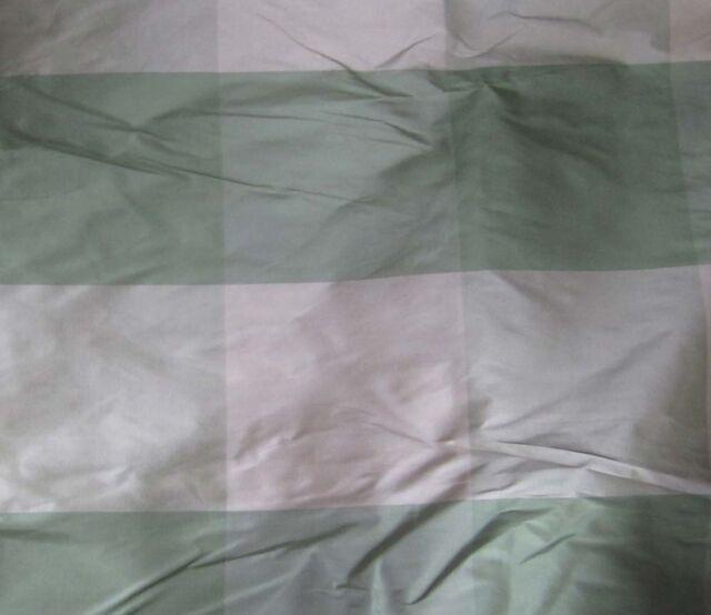 Silk Taffeta Fabric - Green & White Check -2 yards CLEARANCE