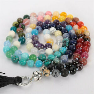 8MM 108 Color Chakra Gemstone mala knot Yoga Necklace Chic Wristband Classic
