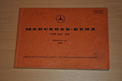 Ersatzteilkatalog Mercedes Benz Type 230 250 Catalog A 1968 Verschillende Stijlen