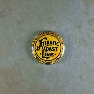"Vintage Style Sign Pinback Button 1"" Atlantic Coast Line Railway Railroad"