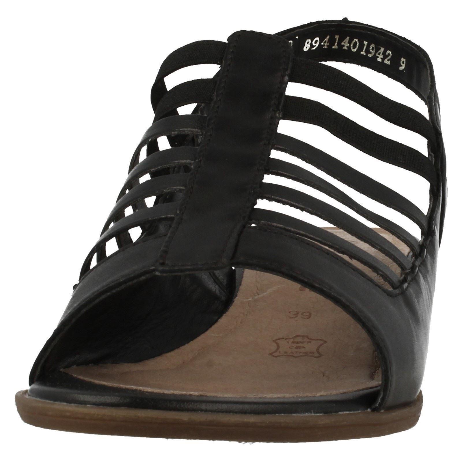 Damen schwarz zehenfrei LEDER REMONTE mit Absatz zehenfrei schwarz Sommer Sandalen r0853 409536