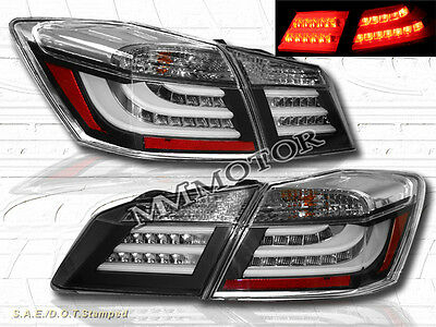 13-14 HONDA ACCORD 4 DOOR SEDAN LED BLACK TAIL LIGHTS REAR BRAKE PAIR NEW