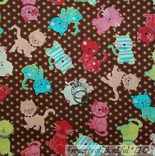 BonEful Fabric FQ Cotton Quilt Blue Kitty Cat Calico Whimsical Rainbow Flower 3D