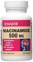 Major Niacinamide 500mg Tablets 100 Count Each