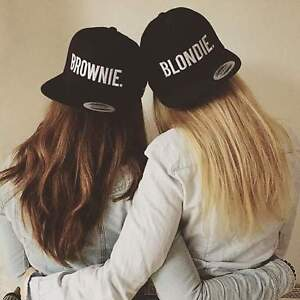 510b37f09 Details about Blondie Brownie Snapback Pair Fashion Embroidered Snapback  Caps Hip-Hop Hats