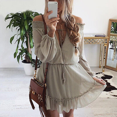 Women Boho Long Sleeve Ruffle Chiffon Off Shoulder Mini Dress Summer Beach Dress