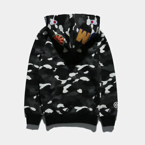 dcc1e0ab77dd BAPE A BATHING APE SPACE CAMO SHARK SWEARER FULL ZIP COAT JACKET HOODIE  MEN S