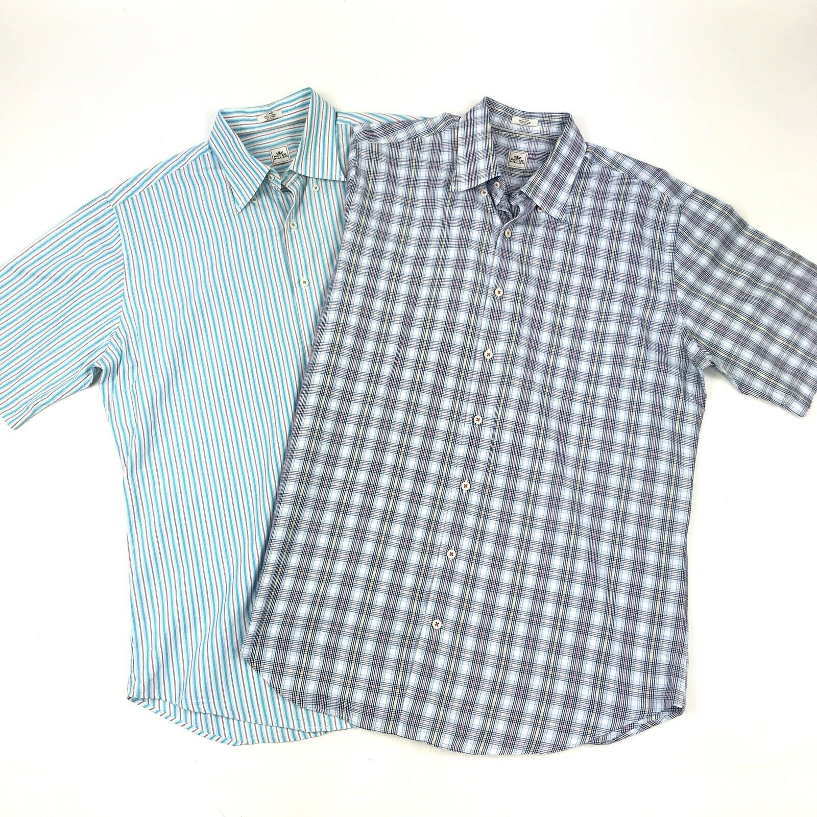 Peter Millar Men's LOT OF 2 bluee Plaid Striped Short Sleeve Button Down Shirts L