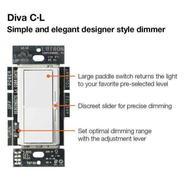 Lutron Diva C L Dimmer Switch For Dimmable Led Dvwcl 153ph La For Sale Online Ebay