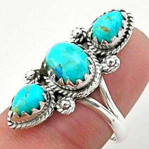 5.84cts 3 Stone Blue Arizona Mohave Turquoise 925 Silver Ring Size 7 T40615