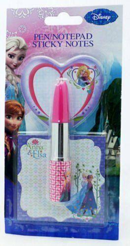 Disney Frozen Anna /& Elsa Sticky Note Pad /& Lipstick Pen Set