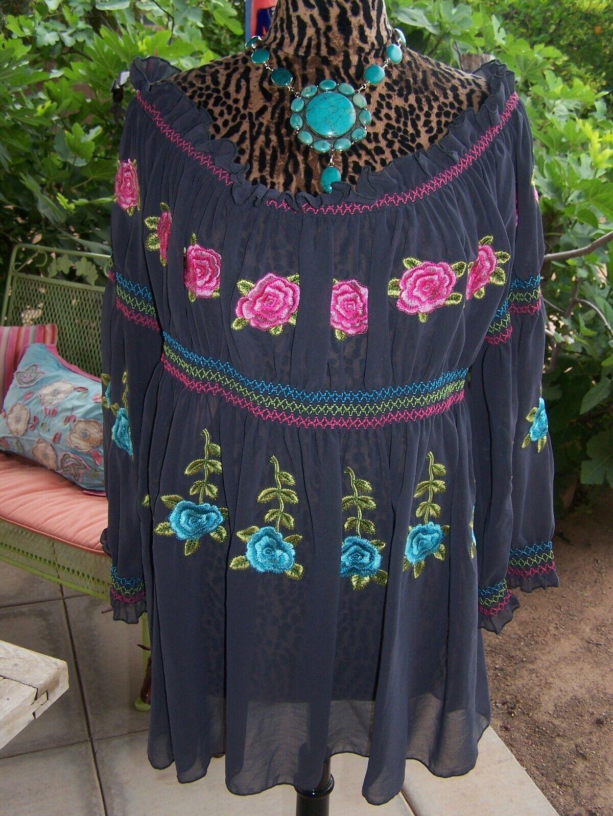 NWOTWestern Embroiderot Off Shoulder Baby Doll TopRoja StyleL XLUrban Mango